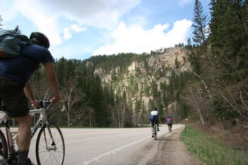 Spearfish Canyon is an moderate but scenic road bike ride, with a waterfall stop along with way.