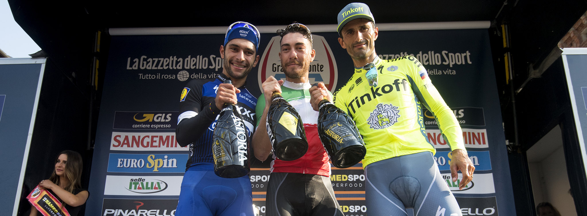 (L-R) Fernando Gaviria of Etixx Quick-Step Team, Giacomo Nizzolo of Italia Team and Daniele Bennati Of Tinkoff Team on the finish line of Gran Piemonte cycling race from Diano D'Adda to Aglie', 29 September 2016. ANSA/CLAUDIO PERI
